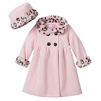 Toddler Girl Sophie Rose Faux-Fur Fleece Swing Coat & Hat Set