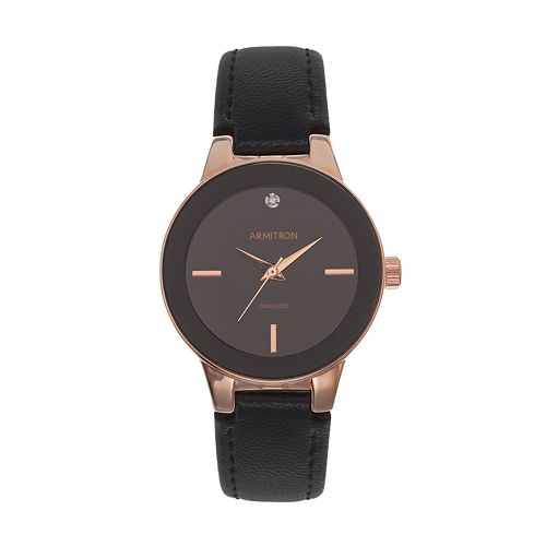 Armitron Women's Diamond Leather Watch - 75/5410BKRGBK