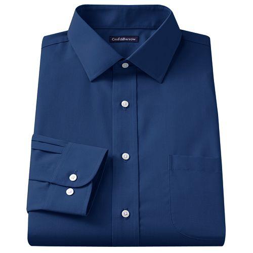 0a4c76c06 Men's Croft & Barrow® Classic-Fit Solid Broadcloth Spread-Collar Dress Shirt