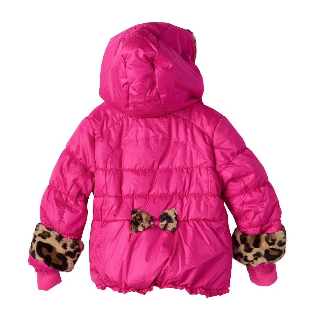Toddler Girl ZeroXposur Heavyweight Faux-Fur Animal Print Detailed Coat