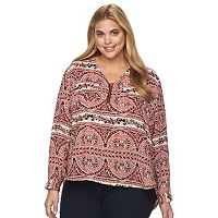 Plus Size Harve Benard High-Low Zipper V-Neck Pocket Top