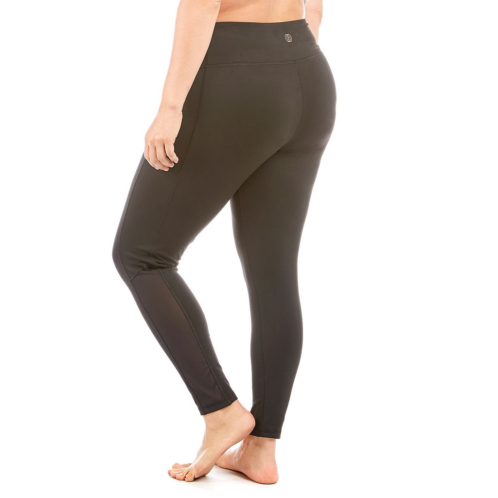 Plus Size Balance Collection Melodie Mesh Panel Workout Leggings