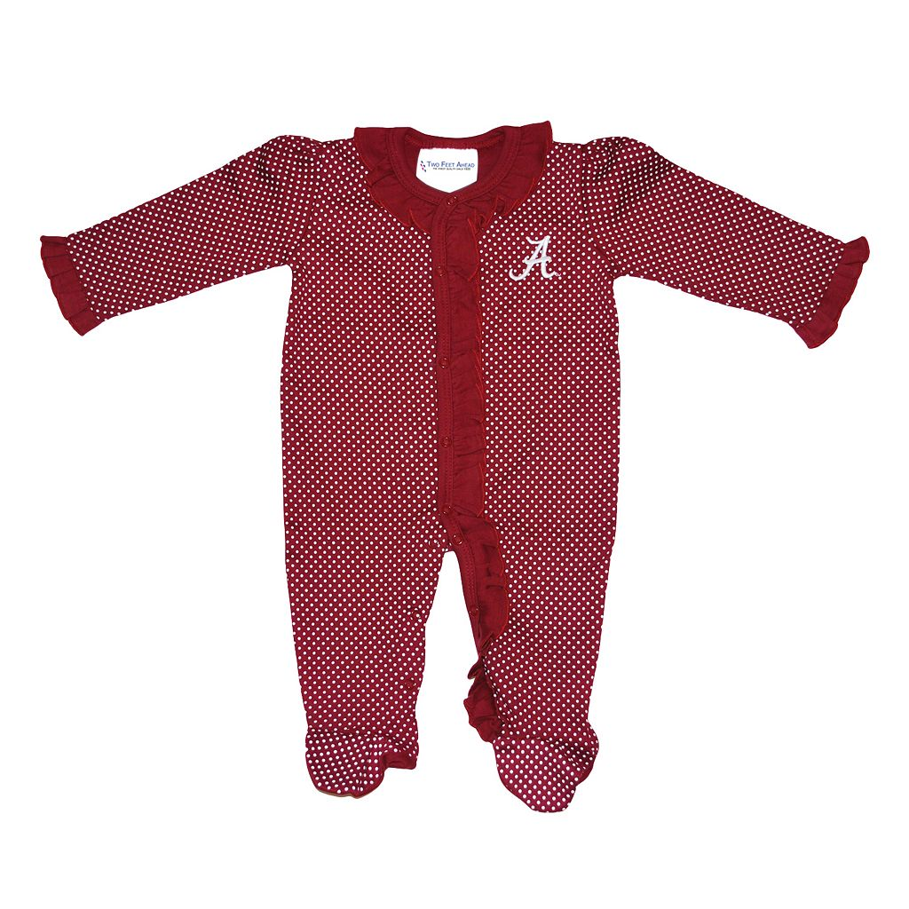 Baby Two Feet Ahead Alabama Crimson Tide Pin Dot Footed Bodysuit