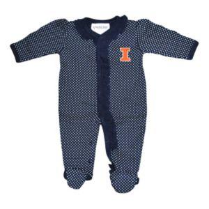 Baby Two Feet Ahead Illinois Fighting Illini Pin Dot Footed Bodysuit