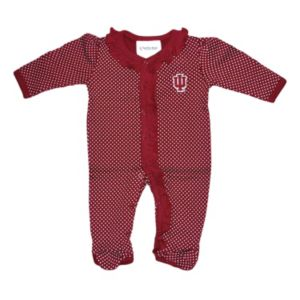 Baby Two Feet Ahead Indiana Hoosiers Pin Dot Footed Bodysuit