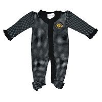 Baby Two Feet Ahead Iowa Hawkeyes Pin Dot Footed Bodysuit