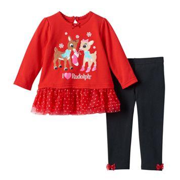 Baby Girl Rudolph the Red Nosed Reindeer Clarice Tutu Tee & Leggings Set