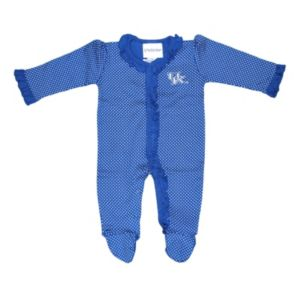 Baby Two Feet Ahead Kentucky Wildcats Pin Dot Footed Bodysuit