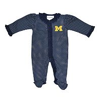 Baby Two Feet Ahead Michigan Wolverines Pin Dot Footed Bodysuit