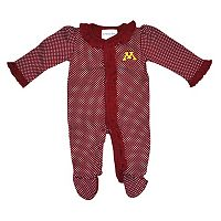 Baby Two Feet Ahead Minnesota Golden Gophers Pin Dot Footed Bodysuit