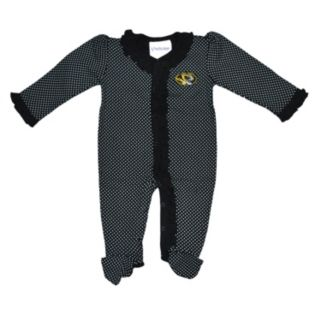 Baby Two Feet Ahead Missouri Tigers Pin Dot Footed Bodysuit