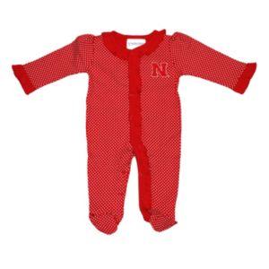 Baby Two Feet Ahead Nebraska Cornhuskers Pin Dot Footed Bodysuit