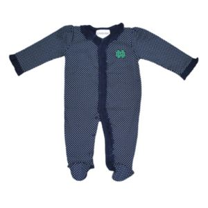 Baby Two Feet Ahead Notre Dame Fighting Irish Pin Dot Footed Bodysuit