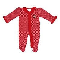 Baby Two Feet Ahead Ohio State Buckeyes Pin Dot Footed Bodysuit