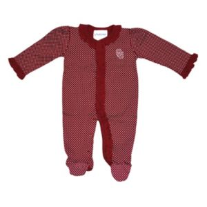 Baby Two Feet Ahead Oklahoma Sooners Pin Dot Footed Bodysuit