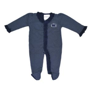 Baby Two Feet Ahead Penn State Nittany Lions Pin Dot Footed Bodysuit
