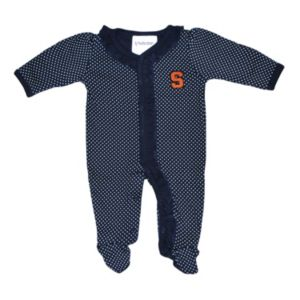 Baby Two Feet Ahead Syracuse Orange Pin Dot Footed Bodysuit
