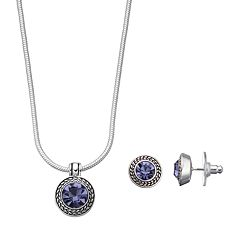 Napier Textured Halo Round Pendant Necklace & Stud Earring Set