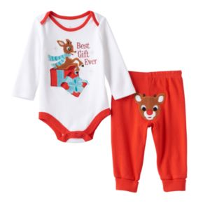 """Baby Rudolph the Red Nosed Reindeer """"Best Gift Ever"""" Bodysuit & Rudolph Applique Bottoms Set"""
