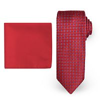 Big & Tall Steve Harvey Extra-Long Natte Woven Tie & Solid Pocket Square