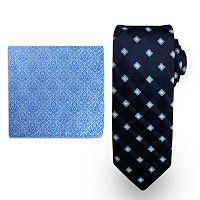 Big & Tall Steve Harvey Extra-Long Grid Tie & Brocade Pocket Square