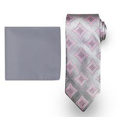 Big & Tall Steve Harvey Extra-Long Medallion Tie & Solid Pocket Square