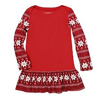 Toddler Girl Burt's Bees Baby Fairisle Ruffled Thermal Dress