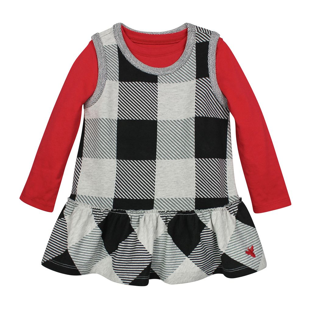 Toddler Girl Burt's Bees Baby French Terry Buffalo Check Plaid Jumper & Tee Set