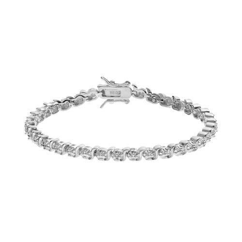 Sliver Tone Circle & Twist Link Tennis Bracelet
