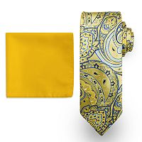 Big & Tall Steve Harvey Extra-Long Paisley Tie & Solid Pocket Square