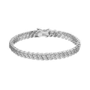 Silver Tone Twist Link Tennis Bracelet