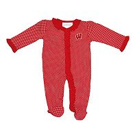 Baby Two Feet Ahead Wisconsin Badgers Pin Dot Footed Bodysuit