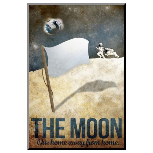 Art.com The Moon Retro Space Travel Wall Art