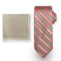Big & Tall Steve Harvey Extra-Long Striped Tie & Dot Pocket Square