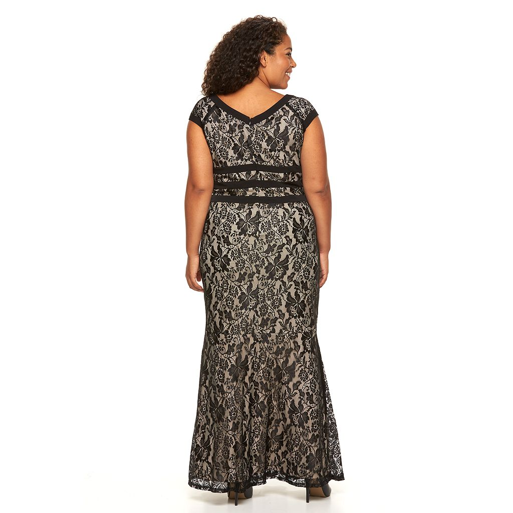 Plus Size Chaya Lace Trumpet-Hem Evening Down