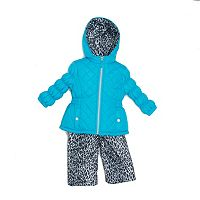 Baby Girl Pink Platinum Heavyweight Quilted Jacket & Cheetah Print Bib Snow Pants Set