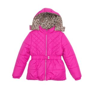 Baby Girl Pink Platinum Heavyweight Hooded Quilted Jacket