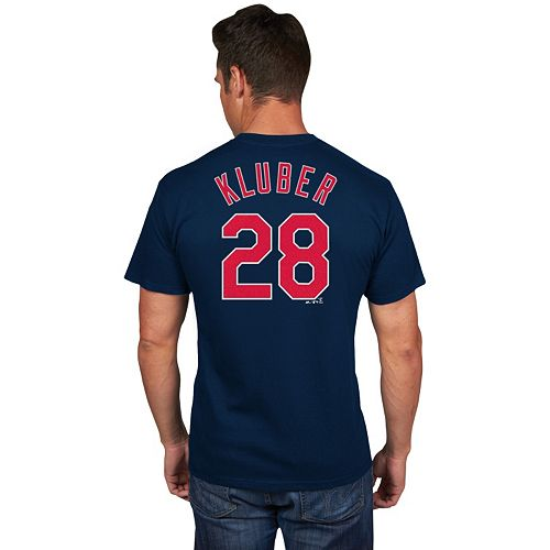 Men's Majestic Cleveland Indians Corey Kluber Player Name and Number Tee