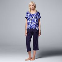 Women's Simply Vera Vera Wang Pajamas: Sweet Nothings Top & Capris PJ Set
