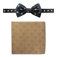 Men's Steve Harvey Satin Grid Pre-Tied Bow Tie & Brocade Pocket Square