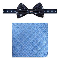 Men's Steve Harvey Satin Grid Pre-Tied Bow Tie & Brocade Pocket Square