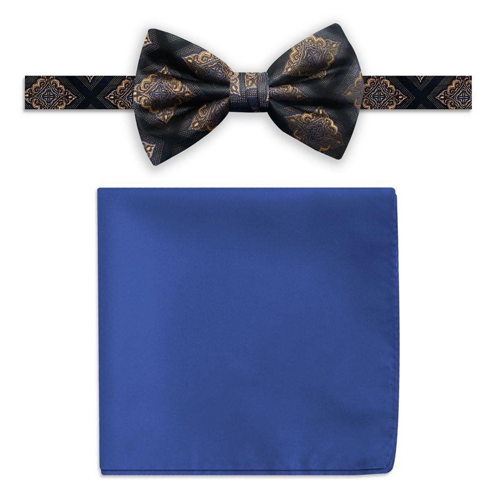 Men's Steve Harvey Medallion Pre-Tied Bow Tie & Solid Pocket Square