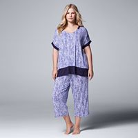 Plus Size Simply Vera Vera Wang Pajamas: Sweet Nothings Top & Capris PJ Set