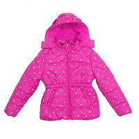 Baby Girl Pink Platinum Star Heavyweight Hooded Puffer Jacket