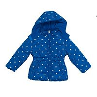 Baby Girl Pink Platinum Star Heavyweight Hooded Puffer Jacket