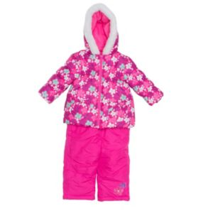 Baby Girl Wippette Floral Hooded Jacket & Bib Snow Pants Set