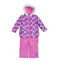Baby Girl Wippette Floral Hooded Jacket & Bib Snow Pants Set