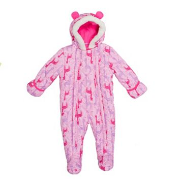 Baby Girl Wippette Giraffe Hooded Fleece Pram