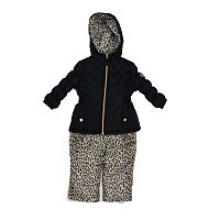 Toddler Girl Pink Platinum Heavyweight Quilted Jacket & Cheetah Print Bib Snow Pants Set