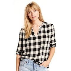 Women's Levi's Skye Checked Splitneck Top
